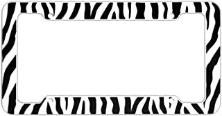 OxGord 1pc Plastic License Plate Frame with ZebraTiger Stripes, White Black