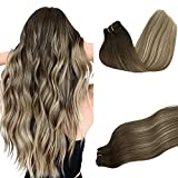 DOORES Remy Hair Extensions Clip in Human Hair Balayage...
