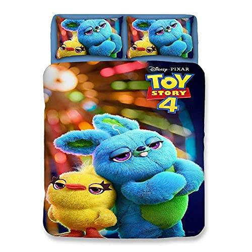 Funda de edredón de Microfibra Impresa en 3D, Funda de Almohada, Funda de edredón de Dibujos Animados de Toy Story, Ropa de Cama