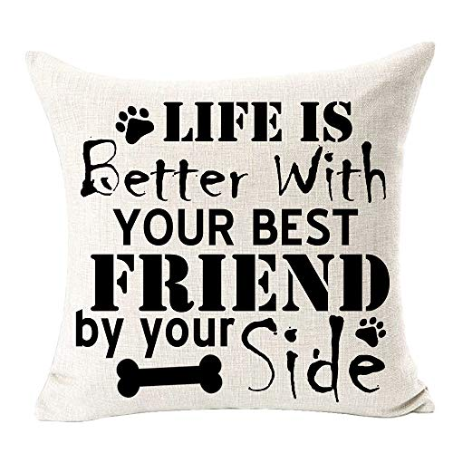 QINU KEONU Best Dog Life is Better with Your Best Friend by Your Side Paw Print Cotton Linen Throw Pillow Case Decorative Cushion Cover Home Sofa 18 X 18 Inch¡­
