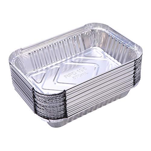 Yardwe 10 Pezzi Vaschette Alluminio per Barbecue Grill all'aperto Vassoi per Grigliare per Barbecue (570ml)