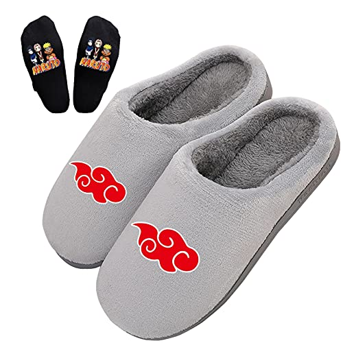 MiduoHu Zapatillas Hombre Pantuflas de Casa Antideslizante Slippers Zapatos para Niñas Niños Cosplay Anime japonés para Naruto con calcetín Uzumaki Uchiha Sasuke Sakura,Regalos