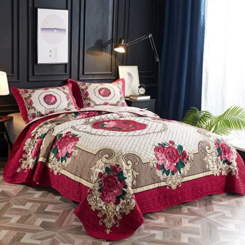 LAMEJOR Quilt Set Queen Size Floral Print 3-Piece Luxury Coverlet Set Comforter Set Lightweight Microfiber Rosy