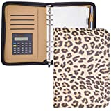 A5 Binder Planner Cover,Zippered Mini Binder Leather Notebook Portfolio Small Binder 5.5 X