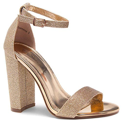 Herstyle Rosemmina Womens Open Toe Ankle Strap Chunky Block High Heel Dress Party Pump Sandals Rose Gold Shimmer 7.5