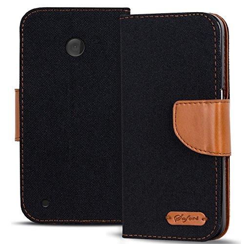 Verco Lumia 530 Hülle, Schutzhülle für Nokia Lumia 530 Tasche Denim Textil Book Case Flip Case - Klapphülle Schwarz