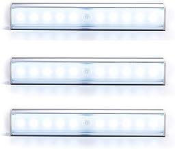 3 عبوات LED تحت أضواء الخزانة، مستشعر الحركة LED خزانة الضوء، 10 أضواء LED لخزانة ملابس المرحاض المطبخ وشرائط إضاءة مغناطي...