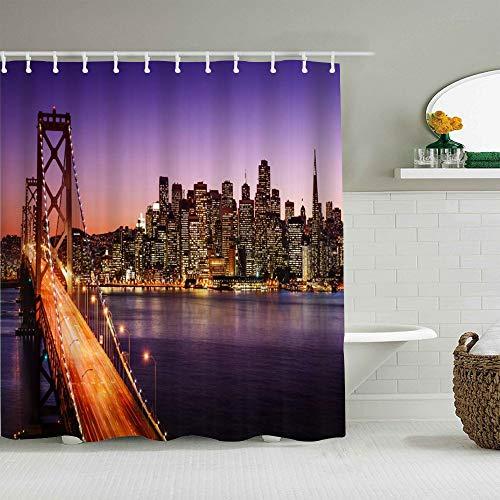 CVSANALA Duschvorhang,Digital gezeichneter New Yorker Brooklyn Bridge Ungewöhnlicher Alter städtischer Landschaftsdruck der Graffiti-Art,personalisierte Deko Badezimmer Vorhang,mit Haken,180 * 180