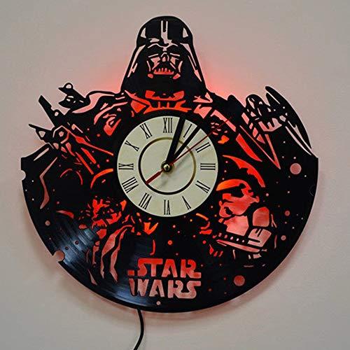 LittleNUM Disco de Vinilo Reloj de Pared Creativo Reloj de Pared de Silencio Star Wars LED Remoto Reloj de Pared del Reloj de Pared de Vinilo Regalo Creativo,No led Light
