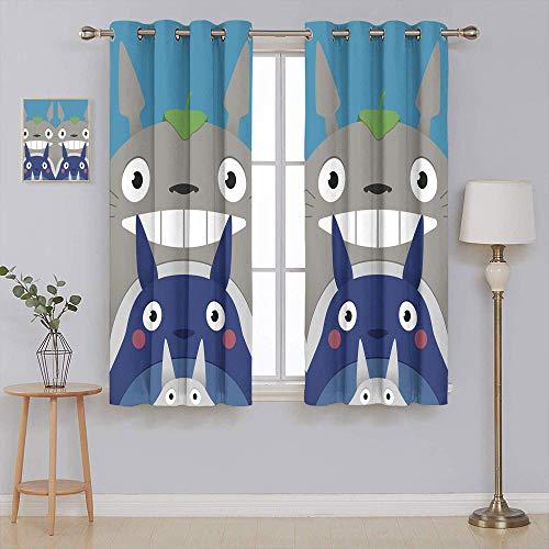 Cortina con aislamiento de sombreado My neighbor Totoro para cortinas de bloqueo de luz, cortinas con ojales para ventana, 155 x 153 cm