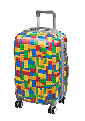 A2s Equipaje cabina maleta ligera y duradera maleta de cáscara dura con 8 ruedas giratorias llevar bolso (aviones) 55x35x20cm (ladrillos Imprimir)