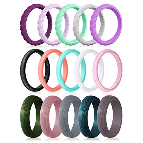 Silicone Wedding Rings for Women, 15-Pack Thin Rubber Wedding Bands Stackable Braided Ring, Affordable, Fashion, Colorful, Comfortable fit, Skin Safe