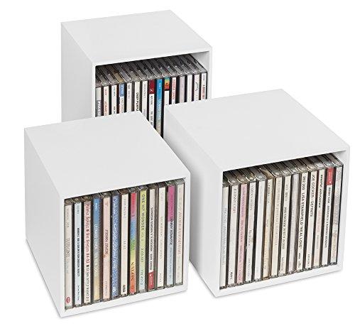 cubix CD-Box white, CD-Aufbewahrungs-Boxen aus Holz, 3 CD-Boxen für bis zu 40 CDs. Dekoratives, ansprechendes Design. CD-Aufbewahrung mit Stil.
