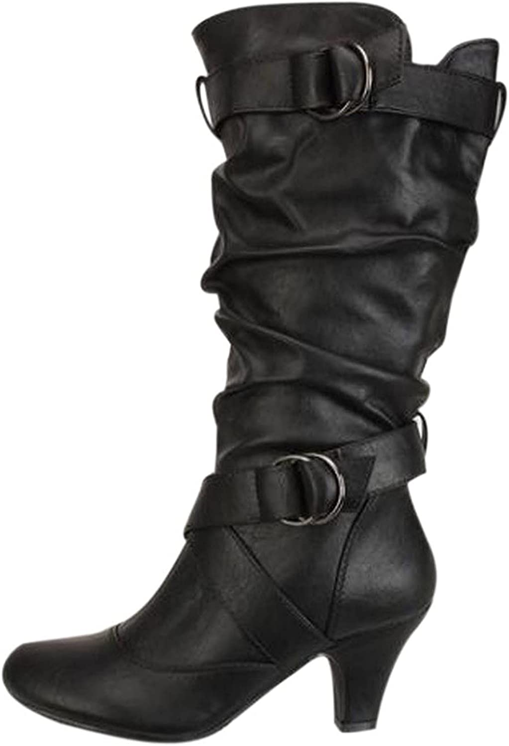 USYFAKGH Women's Boots High Heel Boots for Women Retro Booties Tapered Heel Boots Shoes