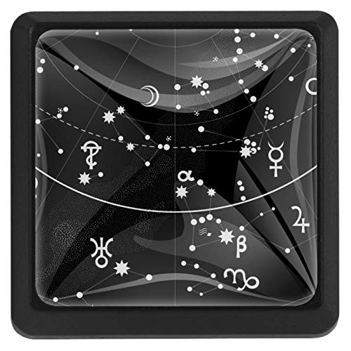Atlas astronómico del cielo nocturno 3 Piezas Perilla del Cajón del Gabinete,Mango de un Solo Orificio/Tirador de Puerta de Armario,Decoración del Hogar de Gabinete y Decoración del Hogar