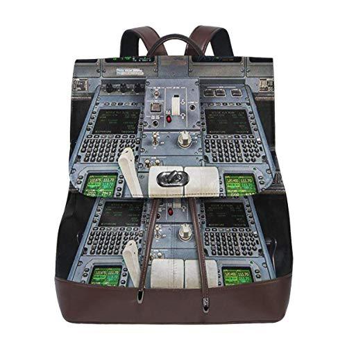 SGSKJ Rucksack Damen Flugzeug-Cockpit, Leder Rucksack Damen 13 Inch Laptop Rucksack Frauen Leder Schultasche Casual Daypack Schulrucksäcke Tasche Schulranzen