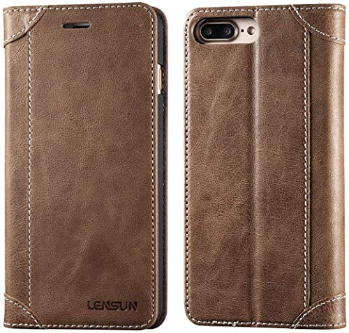 Lensun Cover iPhone 7 Plus, Cover iPhone 8 Plus, Vera Pelle Cuoio Custodia Genuino Annata a Portafoglio Flip con Coperchio Frontale Magnetica per iPhone 7/8 Plus 5.5' – caffè (7P-DX-CE)