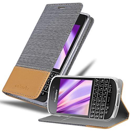 Cadorabo Hülle für BlackBerry Q10 in HELL GRAU BRAUN - Handyhülle mit Magnetverschluss, Standfunktion & Kartenfach - Hülle Cover Schutzhülle Etui Tasche Book Klapp Style