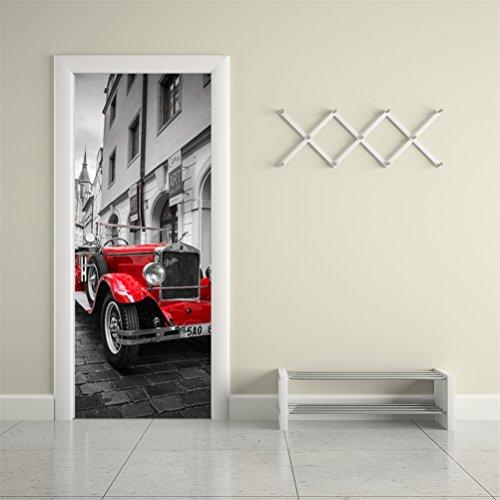 Adesivos de parede Fymural 3D para decoração de casa, autoadesivo, vinil, removível, retrô, art door, Decalques 30,3x78,7, M038