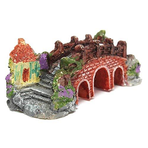 Wuyee Miniatura Antigüedades Resina Puente terrario Peces de Acuario Tanque Decoraciones del jardín (10x4.7x4cm)
