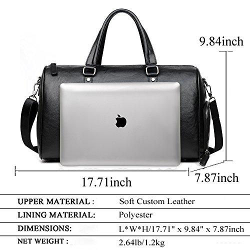 SHUAIJIE,Oversized Travel Duffel Bag,Waterproof Canvas Genuine Leather,Weekend bag,Weekender Overnight,Carry On Handbag Brown
