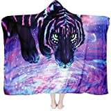 SKOLOO Soft Tiger Hooded Blanket for Adults & Kids, Wearable Blanket Hoodie-Plush Warm Blanket, Fluffy Blankets for Bed Couch Travel, Throw Blankets
