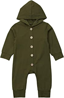 Newborn Baby Boy Girl Romper Hooded Bodysuit Cute Long Sleeve Solid Knitted One Piece Cotton Jumpsuit Outfits Clothes