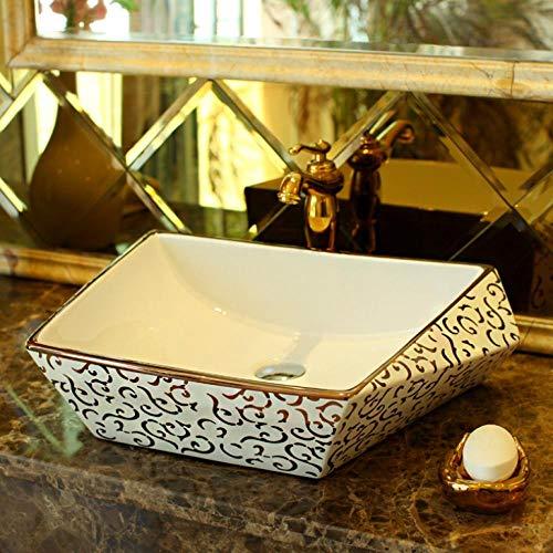 Hiwenr Mosaik golden Luxuriös Gold Europa Vintage Style Keramik Waschbecken Aufsatzwaschbecken rechteckig