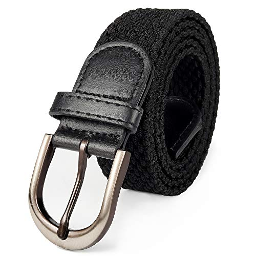 Mile High Life | Braided Stretch Elastic Belt | Pin Oval Satin Nickel Buckle | PU Leather Loop End Tip (Black, Large 36'-38' (43' Length))