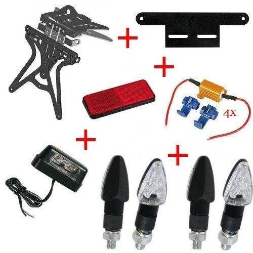 Kit pour moto support de plaque d'immatriculation + 4 Flèches + lumière plaque d'immatriculation + Résistance + réflecteur + Support Lampa Yamaha MT – 01 sP 1670 2009 – 2017