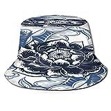 RUEMAT Cappello da Pescatore Unisex,Illustrazione del Fiore Blu Nero di Vettore,Cappello da Sole Pieghevole Cappello da Pesca Viaggio Spiaggia Esterno Cappellino Fisherman cap Hat