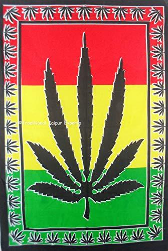Traditional Jaipur Bob Marley psychedelische Kräuter Weed ~ Rasta Marihuana Blatt Poster, Hippie Wandbehang, Baumwoll-Tagesdecke, böhmische Picknick-Throw, Gypsy Beach Blanket 30 x 40 Zoll