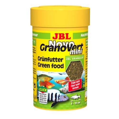 JBL NovoGranoVert 30095 Alleinfutter für pflanzenfressende Aquarienfische Nachfülldose Granulat, 100 ml