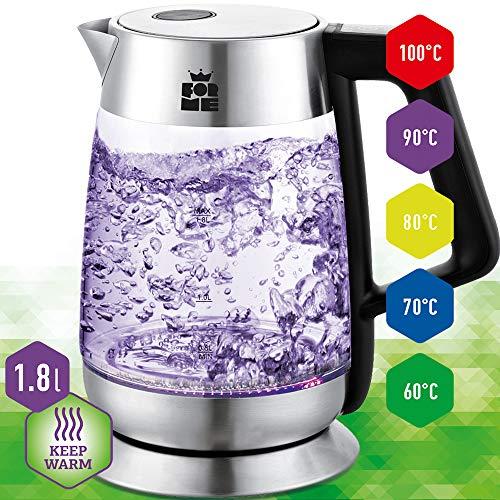ForMe Hervidores eléctricos Hervidor de Cristal Inoxidable I Control de Temperatura 60-100ºC I 2200W I 1,8 L I Pantalla LED I Función mantener caliente I Libre de BPA (FKG-618)
