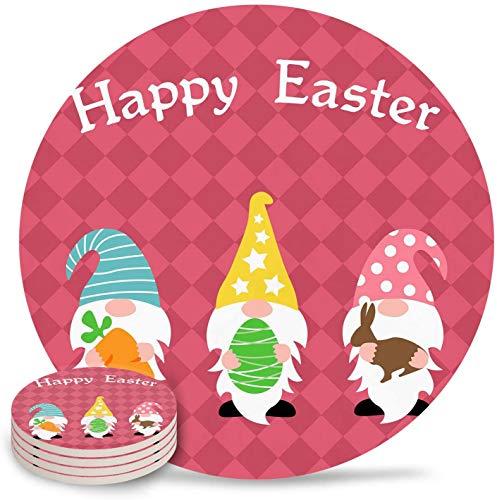 Juego de 4 posavasos para bebidas de Pascua, posavasos de cerámica absorbente de humedad con base de corcho, adecuado para tipos de tazas y tazas Enano con zanahoria, conejito, huevo de Pascua, cuad