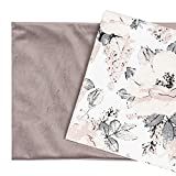 Tessuto Cotone Stoffa e velluto patchwork Tessuti a metraggio - Scampoli Stoffe per cucito creativo al metro (Velluto rosa 100x60 cm + cotone motivo rose 100x80 cm)