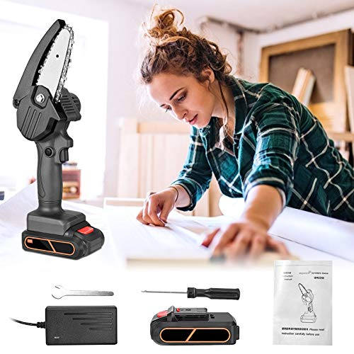 TOPQSC actualizado sierra de podar a bateria mini casa sierra de podar eléctrica 4 pulgadas multifuncional tijeras de podar motosierra para mujeres (black)
