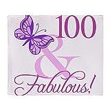 CafePress Fabulous 100Th Birthday for Women Throw Blanket Soft Fleece Throw Blanket, 50'x60' Stadium Blanket