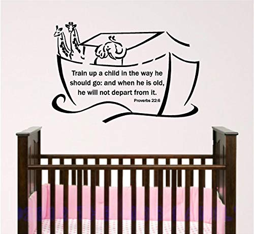 BYRON HOYLE Nursery Bible Verse Wall Art, Noah's Ark, Baby Room Wall Decal, Train Up A Child, Proverbs 22:6