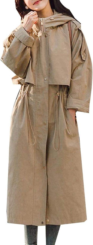 Doufine Womens Outwear Trench Coat Hooded Waist Overcoat Windbreakers