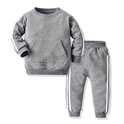 Moyikiss Studio Unisex Tracksuit Baby Boys Girls Clothes Cotton Long Sleeve Zipper Sweatshirt Jacket and Pants (Grey-a, 80/12-18Months)