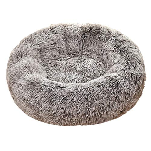 YueLove Dog Bed Cat Bed Donut Pet Bed Faux Fur Cuddly Round Comfortable for Small Medium Dogs Ultra Soft Soothing Bed Self Heating Inner Sleeping Bed Multiple Sizes