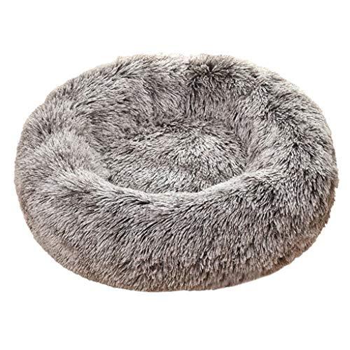 Smniao Schlafplatz für Katzen und Kleine Hunde Katzenbett Waschbar Hundekissen Flauschig Hundebetten Haustierbett Plüsch (S: 45x 45cm, Kaffee)