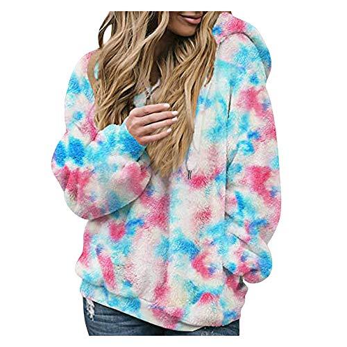 HFENG Mode Damen Sweatshirt Tarnung Plüschmantel Einzigartige Kapuzensweatshirt...