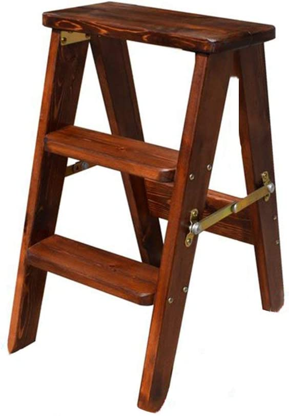 AGWa Tabouret en bois pliant maison chaise multifonction tabouret de cuisine tabouret d'escalier,Deep Color Bois Deep Color Bois
