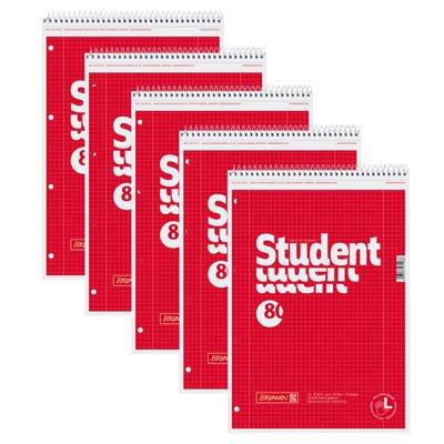 5 BRUNNEN Collegeblöcke Student A4 kariert 80 Blatt für Linkshänder geeignet