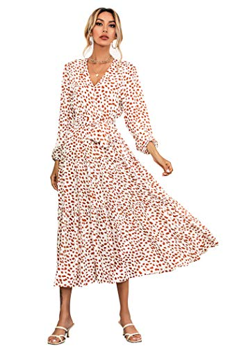 R.Vivimos Women's Fall Cotton Long Sleeves Irregular Polka Dot V Neck Casual Flowy Midi Dress (Large, WhiteBrown)