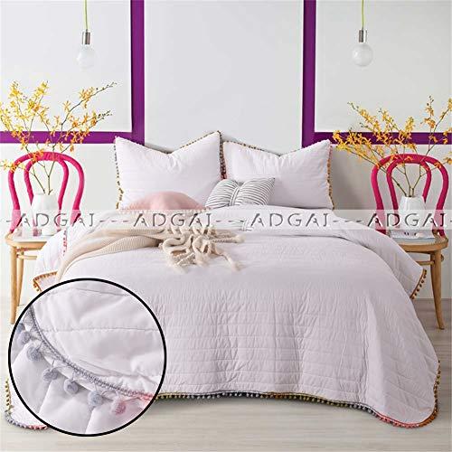 ADGAI 3-delige kingsize spreien wit met kleur pompoms 100% katoen comfortabel gemakkelijk zorg gewatteerd beddengoed set deken 234cm x 269cm