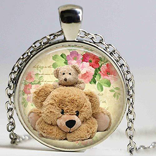 Teddybär-Halskette, niedlicher Teddy-Anhänger, Kunst-Anhänger, Geschenk für Freunde, Familie, kuschelige Teddy-Kette