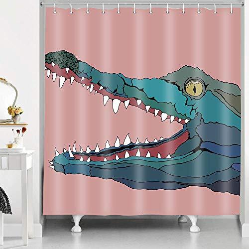 RHDORH YLLMDO90 Duschvorhang-Set mit Krokodil & Cartoon-Tiermotiv, für Kinder, niedliches rosa Polyestergewebe, wasserdicht, mit Haken, 183 x 183 cm